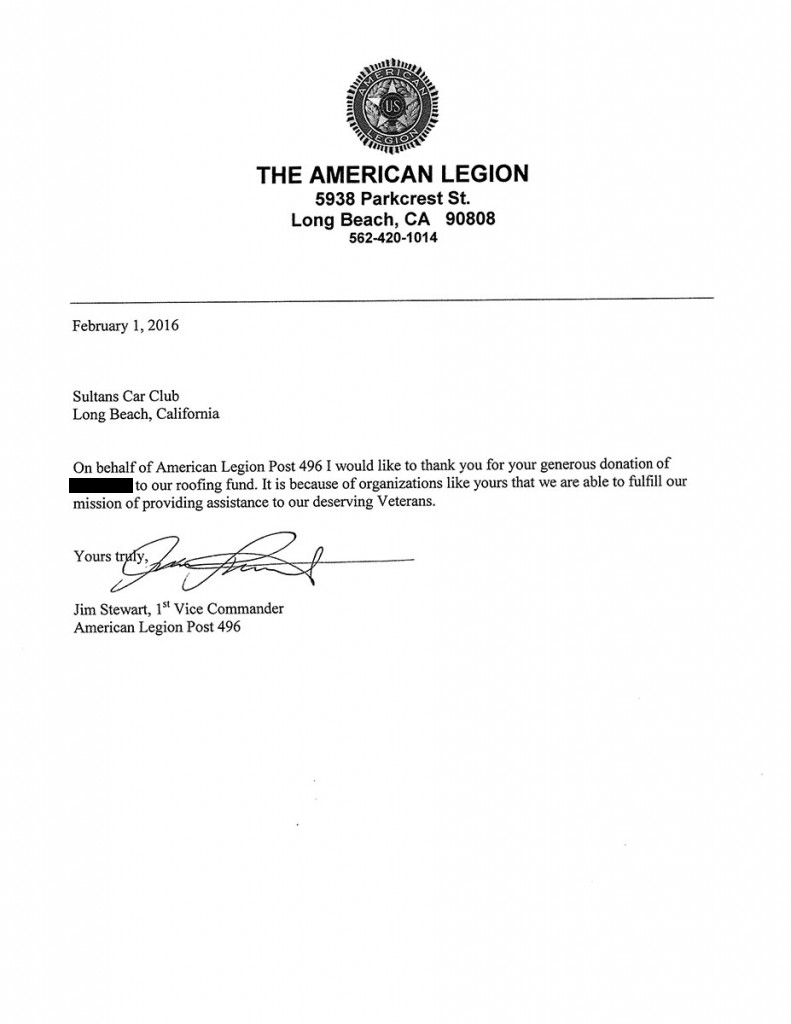 News for American legion donation letter